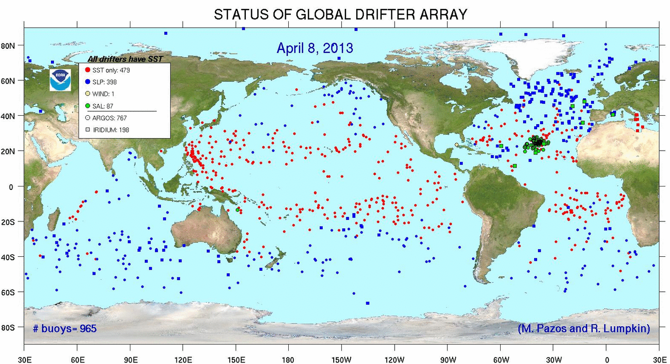 global map of drifters